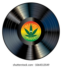 vector realistic illustration of vinyl long play record with reggae label