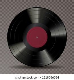 vector realistic illustration of vinyl long play record with blank red label