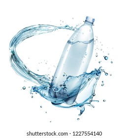 Vector realistic illustration of water splashes around plastic bottle isolated on white background