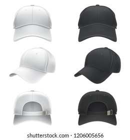 Vector realistic illustration of a white and black textile baseball cap front, back and side view.