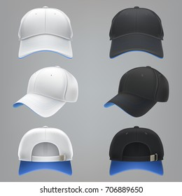 26fb7626ae4 Vector realistic illustration of a white and black textile baseball cap  with a blue visor