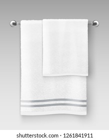 Vector realistic illustration of white clean terry towel hanging on hanger prepared to use isolated on background