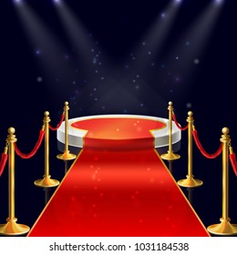 Vector realistic illustration of white round podium with velvet carpet, red ropes and golden stanchions illuminated by spotlights. Winner pedestal, luxury stage for award ceremony on night background