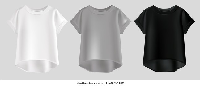 Vector realistic illustration of women's clothing. Isolated image of t-shirts. White, gray and black t-shirts. T-shirt collection. Casual T-shirts.