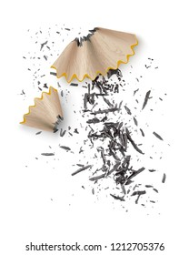 Vector realistic illustration of wooden graphite pencil shavings from sharpener isolated on white background
