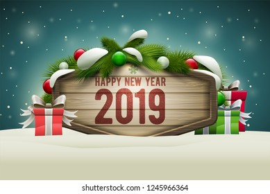 Vector realistic illustration of wooden Happy New Year 2019 message board. Elements are layered separately in vector file.