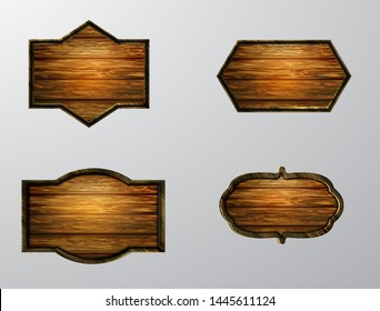 Vector realistic illustration of wooden signboard