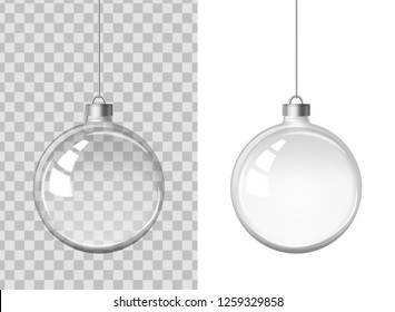 Vector realistic image of a glass transparent transparent New Year (Christmas) ball (decoration). EPS 10.