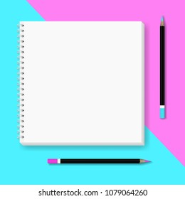 Vector realistic image (layout, mockup) of a notebook, two colored pencils on a blue and pink background. Abstract background in minimalism style. 3d. Template for your text. EPS 10.