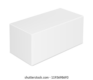 Vector realistic image (mock-up, layout) of a closed blank rectangular paper (carton) box, perspective view. The image was created using gradient mesh. Vector EPS 10.