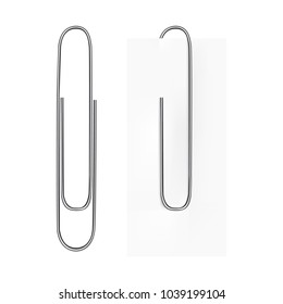 Vector realistic image of a paper clip. The paper clip is silvery. Clip on a sheet of paper. Vector EPS 10