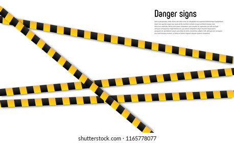Vector realistic isolated caution tape. Concept of barricade, danger and crime.