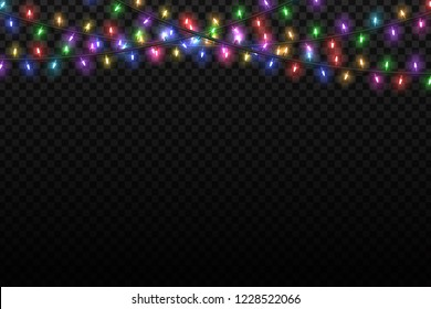 Vector realistic isolated Christmas fairy lights for template decoration and layout covering on the transparent background. Concept of Happy New Year.