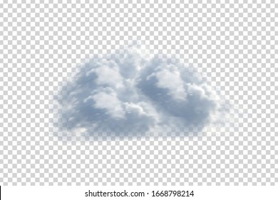 Vector realistic isolated cloud for template decoration and covering on the transparent background. Concept of storm and sky.