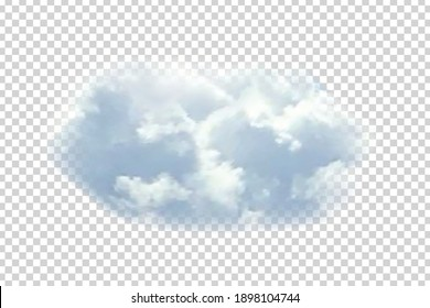 Vector realistic isolated cloud for template decoration and covering on the transparent background. Concept of storm and cloudscape.