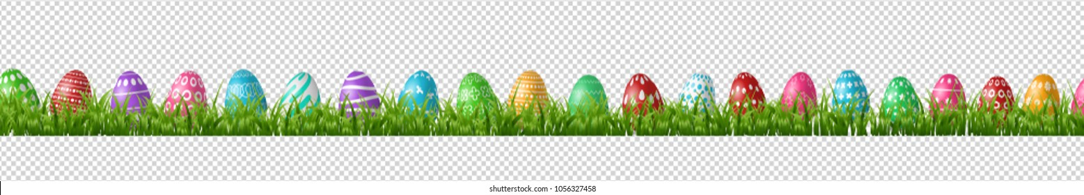 Vector realistic isolated easter eggs in grass borders for decoration and covering on the transparent background. Concept of Happy Easter.
