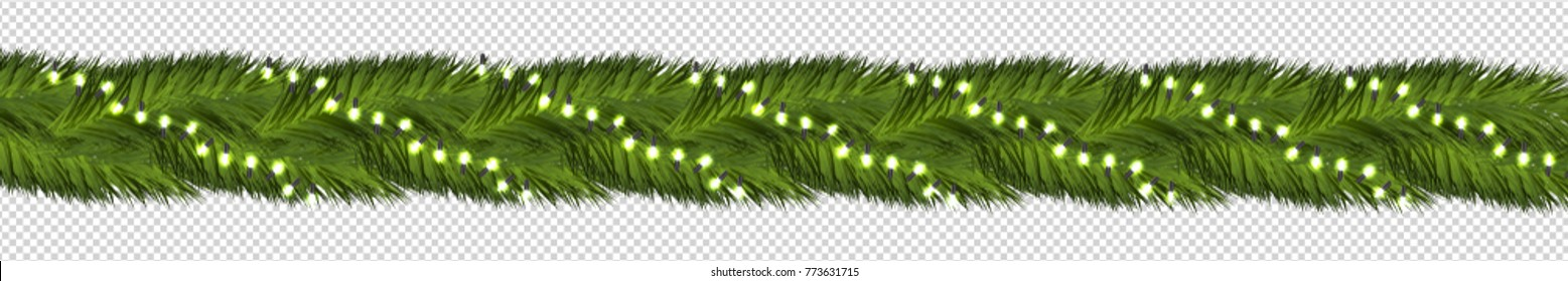 Vector realistic isolated fir tree border with fairy lights for decoration and covering on the transparent background. Concept of Merry Christmas and Happy New Year.