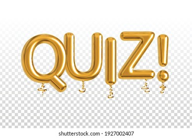 Vector realistic isolated golden balloon text of Quiz on the transparent background. Concept of trivia.