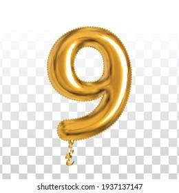 Vektor-realistischer, isolierter goldener Ballon Nummer 9 für Einladung Dekoration auf transparentem Hintergrund.