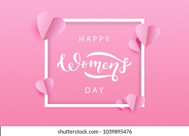 Vector realistic isolated greeting card for Womens Day holiday for decoration and covering on the pink knitting background. Concept of Happy Women's Day.
