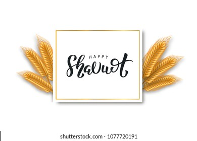 Vector realistic isolated greeting card with lettering logo for Shavuot Jewish holiday and wheat for decoration and covering. Concept of Happy Shavuot.