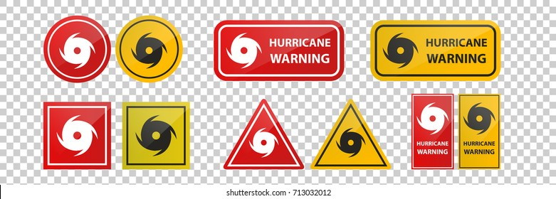 Vector realistic isolated hurricane warning red signs on the transparent background.