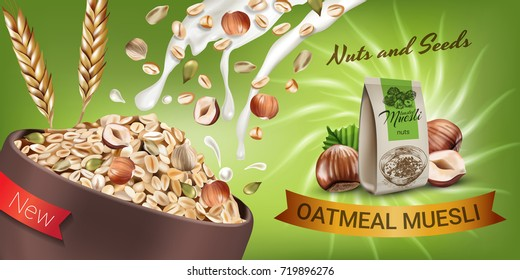 Vector realistic isolated illustration of bowl oatmeal muesli with hazelnuts and seeds. Healthy oatmeal muesli ad package with milk splash. Healthy granola food  for breakfast organic snack.