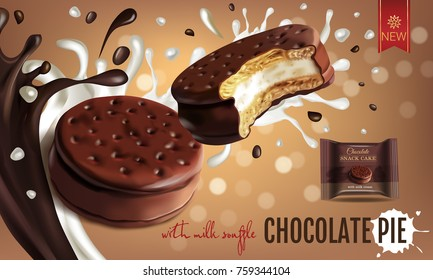Vector realistic isolated illustration of choco pie with milk souffle. Chocolate coated marshmallow. Ad package of chocolate pie with chocolate and milk splashes on bokeh background.