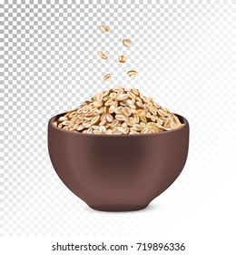 Vector realistic isolated illustration of oatmeal muesli. Healthy oatmeal muesli ad bowl with rolled oats. Healthy granola food  for breakfast organic snack on transparent background.