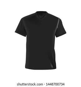 Vector realistic, isolated image of clothes. Black men's T-shirt.