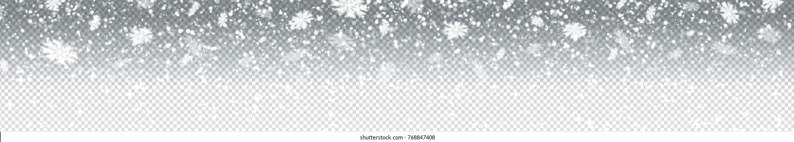 Vector realistic isolated long banner with snow for decoration and covering on the transparent background. Concept of Merry Christmas and Happy New Year.