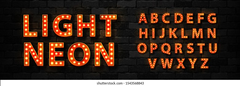 Vector realistic isolated marquee light bulb neon font for template decoration and invitation covering on the wall background. Concept of broadway and show.