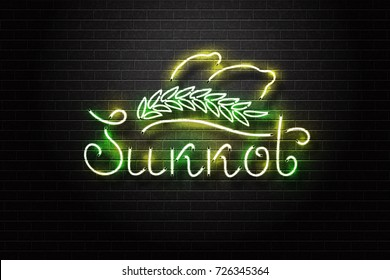 Vector realistic isolated neon retro sign of Sukkot for decoration and covering on the wall background. Concept of Happy Sukkot in Israel.