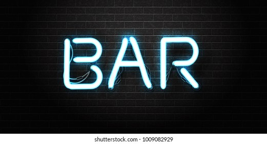 Vector realistic isolated neon sign of Bar lettering for decoration and covering on the wall background. Concept of night club, bar counter, cafe and restaurant.