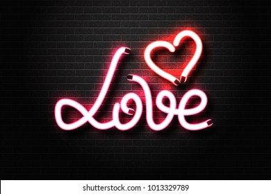 Vector realistic isolated neon sign of Love lettering with heart for decoration and covering on the wall background. Concept of erotic show, sex shop and night club.