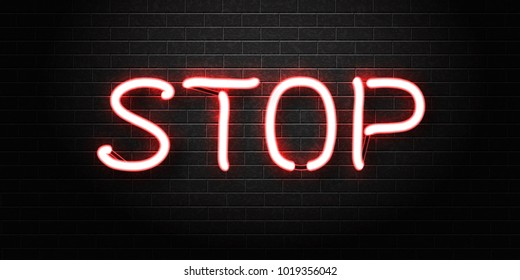 Vector realistic isolated neon sign of Stop lettering for decoration and covering on the wall background.