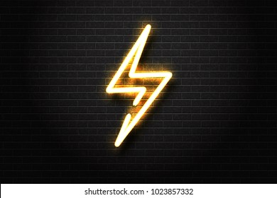 Vector realistic isolated neon sign of energy for decoration and covering on the wall background. Concept of lightning, thunder and electricity.