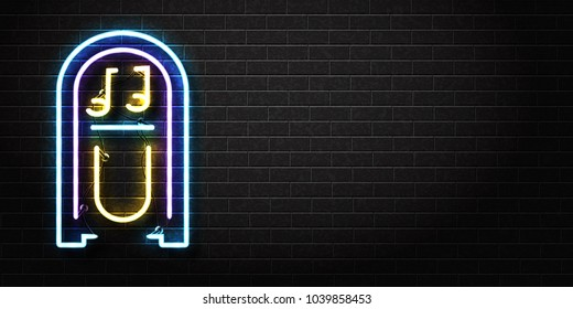 Vector realistic isolated neon sign of jukebox for decoration and covering on the wall background. Concept of music, dj and concert. Realistic banner for promotion and advertising.