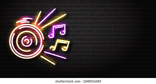 Vector realistic isolated neon sign of Dj logo for decoration and covering on the wall background. Concept of night club, music and dj profession. Realistic banner for music perfomance advertising.