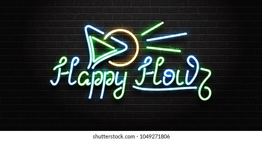 Vector realistic isolated neon sign of Happy Hour lettering logo with cocktail for decoration and covering on the wall background. Concept of night club, free drinks, bar counter and restaurant.