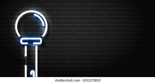 Vector realistic isolated neon sign of microphone for decoration and covering on the wall background. Concept of night club, live music and karaoke bar. Realistic banner for promotion and advertising.