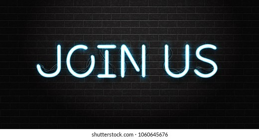 Vector realistic isolated neon sign of Join Us lettering logo for decoration and covering on the wall background. Concept of hiring and cv.