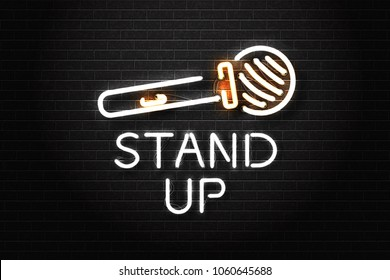 Vector realistic isolated neon sign of stand-up logo with microphone for decoration and covering on the wall background. Concept of comedy show and perfomance.