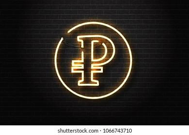 Vector realistic isolated neon sign of ruble logo for decoration and covering on the wall background. Concept of russian currency.