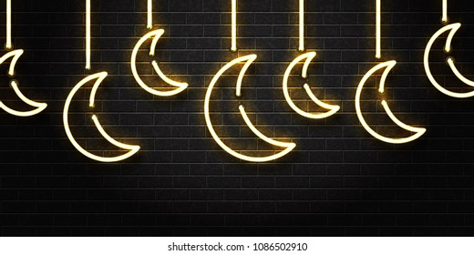 Vector realistic isolated neon sign of Ramadan Kareem moon for decoration and covering on the wall background.