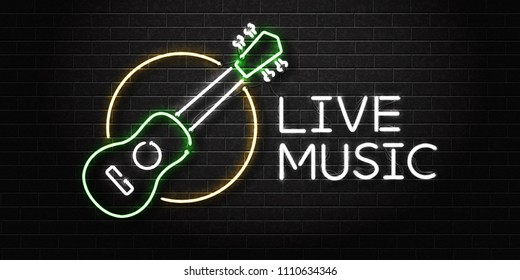 Vector realistic isolated neon sign of ukulele live music logo for decoration and covering on the wall background. Concept of perfomance and sunny summer.