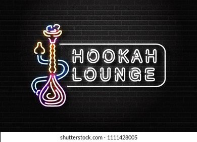 Vector realistic isolated neon sign of Hookah logo for decoration and covering on the wall background. Concept of hookah lounge.