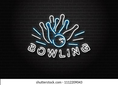 Vector realistic isolated neon sign for bowling logo for decoration and covering on the wall background. Concept of game sport and bowling club.