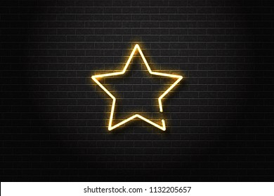 Vector realistic isolated neon sign of star for decoration and covering on the wall background.