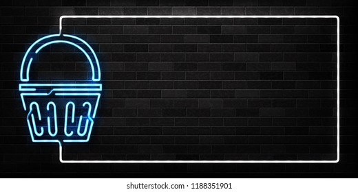 Vector realistic isolated neon sign of supermarket basket frame logo for decoration and covering on the wall background. Concept of Black friday, sale and online shopping.